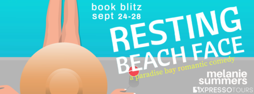 $100 Amazon GC, a print copy of Resting Beach Face, and a custom-made beach towel with the cover of the book on it